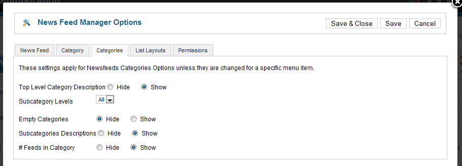Newsfeed Manager Options Categories Tab