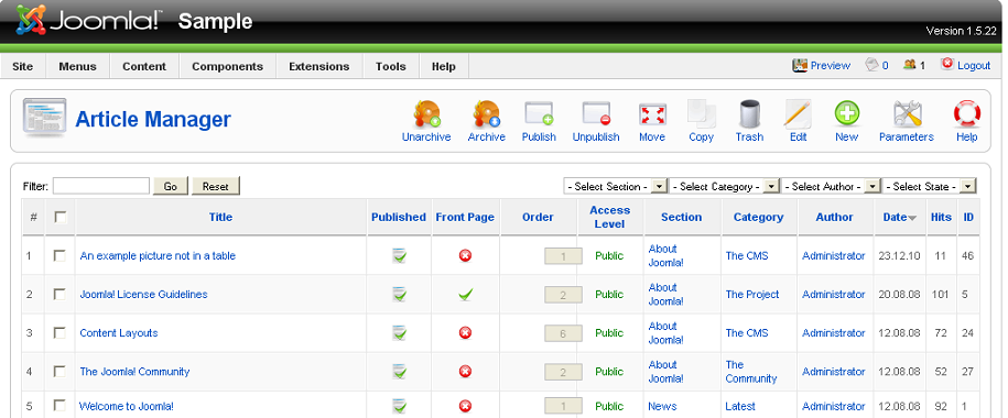 J1 5 Get To Know The Administrator Back End Of Joomla