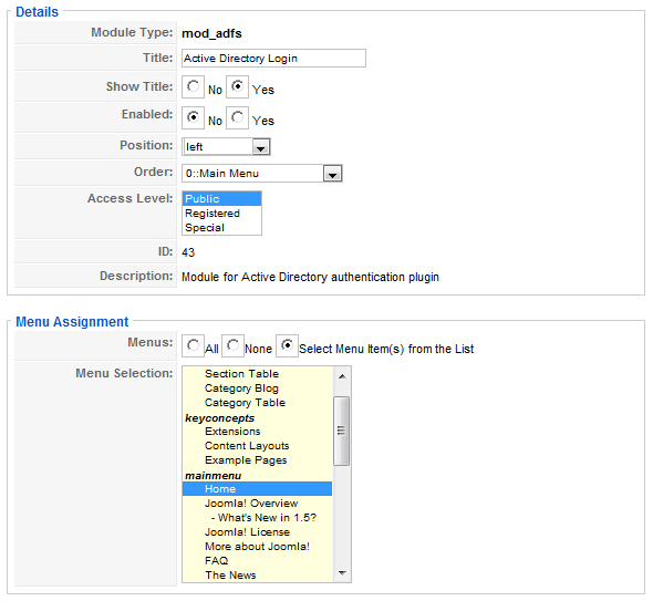Sample configuration ADFS for Joomla 1.5