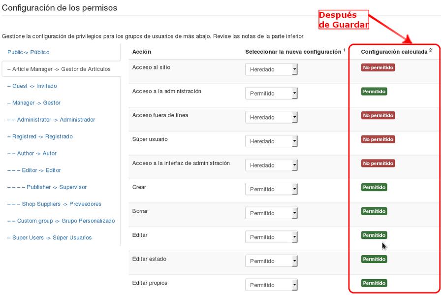 Tutorial Lista de Control de Acceso (ACL) - Joomla! Documentation