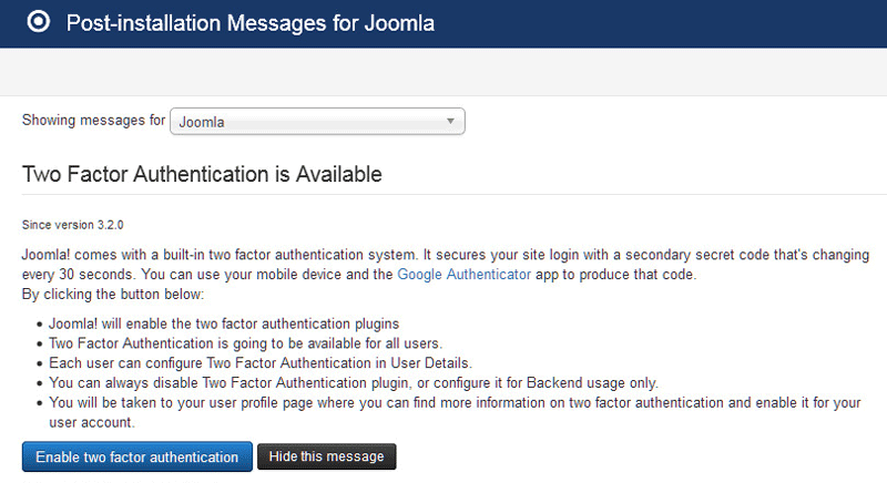 Joomla Two Factor Authentication Enable En