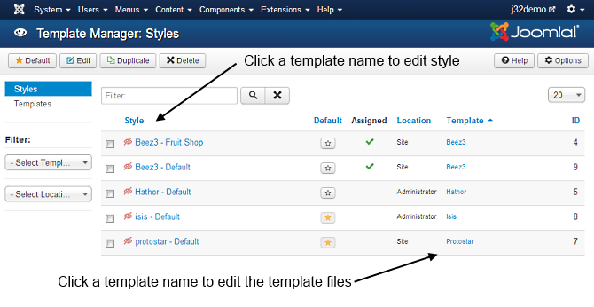 J3 x:Access Template Manager Customisation - Joomla