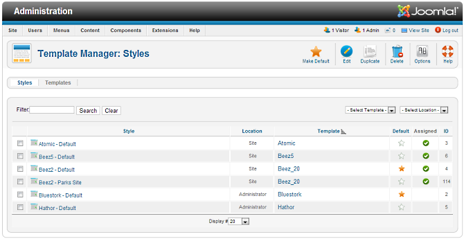 Help25 extensions template manager styles joomla for Joomla administrator templates