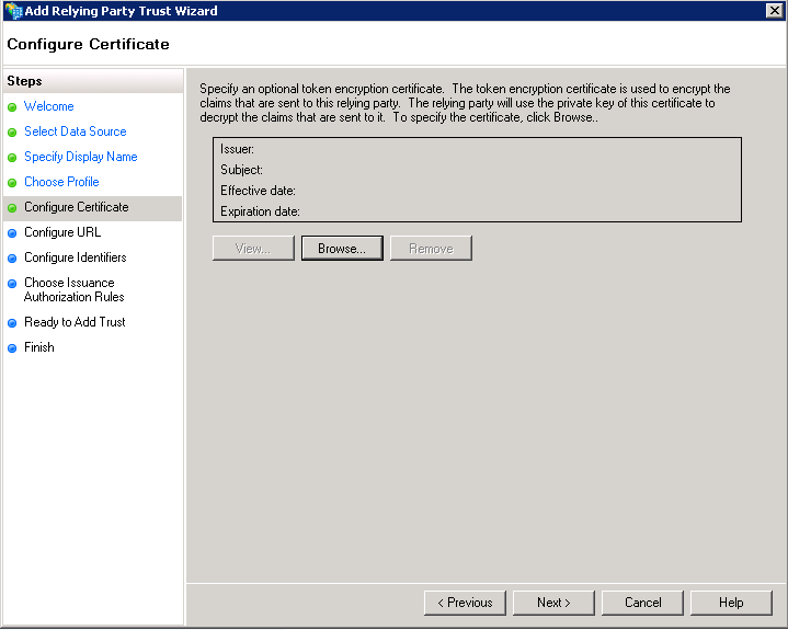 Configure Certificate - Optional