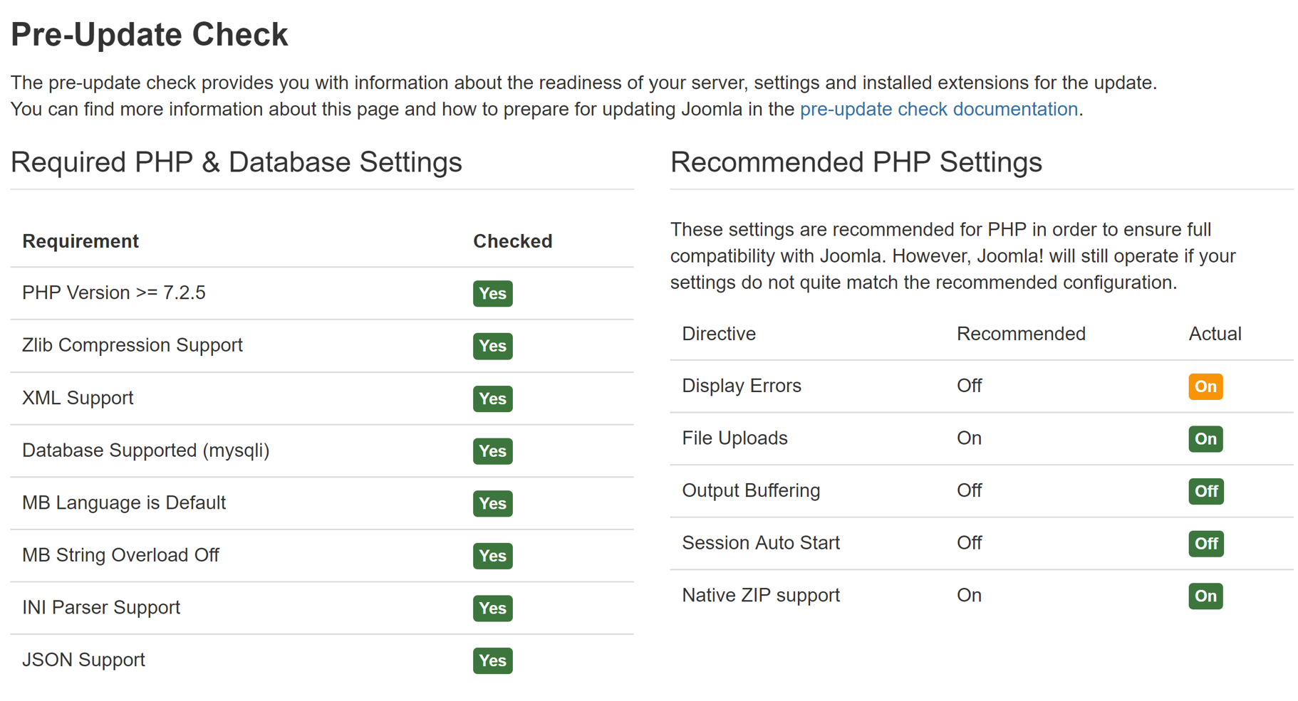 Required PHP and Database Settings portion of the Pre-Update Check Component