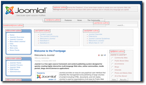 Typical Joomla! screenshot with template positions shown.
