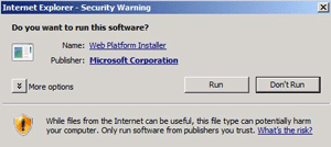 Internet Explorer security warning