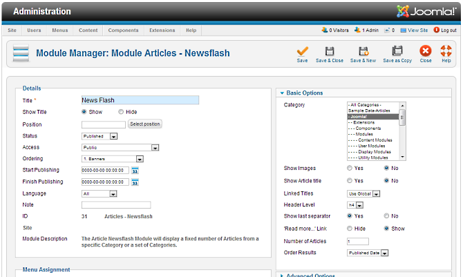 module link to article joomla