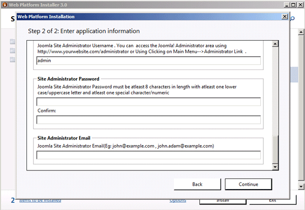 Application configuration continued