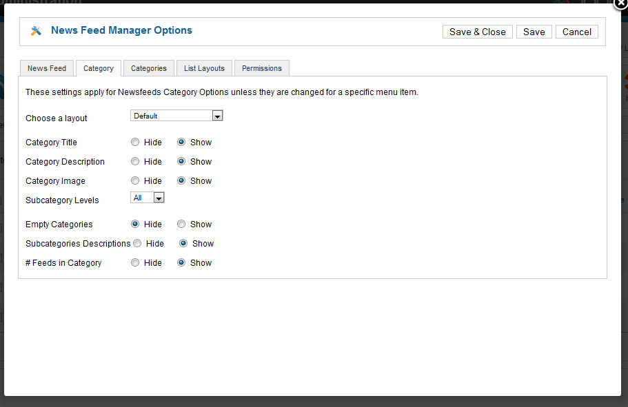 Newsfeed Manager Options Category Tab