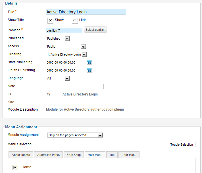 Sample configuration ADFS for Joomla 1.6