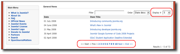 Typical Joomla! page showing a paginated list.