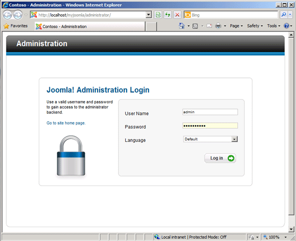 Joomla administration login page