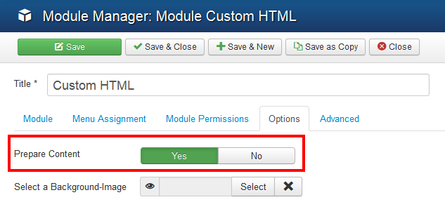 Showing the Prepare Content option in a Custom HTML module.