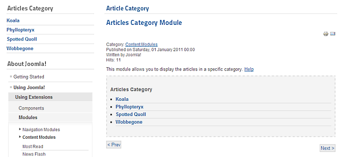 joomla extension articles category