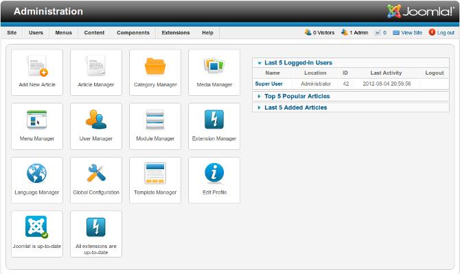 Help25 Site Control Panel Joomla Documentation