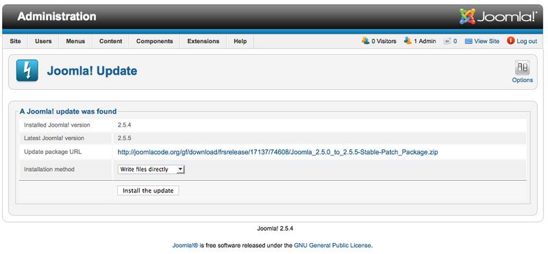 joomla 2.5.4