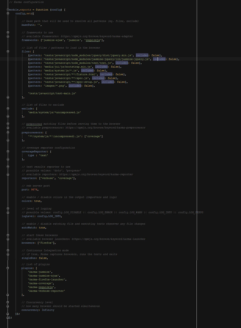 A screenshot of the karma.conf.js Karma configuration file